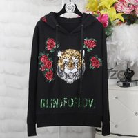 Fashion luxury brand sequins hoodies for women tide new embr...