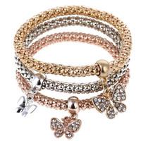3pcs / set Europe Amérique Bracelet De Demoiselle D'honneur Bijoux Célèbre Papillon Dangle Cristal Charme Bracelets Bracelets Pour Femmes