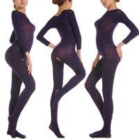 Toptan-Sıcak Satış 150D 5 Renkler erkek kadın Kadife Açık Kasık Bodyhose Unisex Fetiş Bodystocking Mor Et Beyaz Kırmızı Siyah