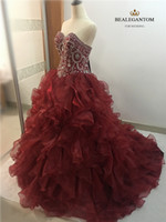 New Elegant Ball Gown Wine Red Quinceanera Dresses 2017 Bead...