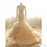 Abiti da sposa Milla Nova Avorio sirena abiti da sposa Vestido De Novia elegante Abiti da sposa senza spalline Luce Champagne Organza