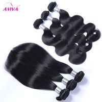 Braziliaanse Virgin Menselijk Haar Weefsels Bundels Onverwerkte Peruaanse Indische Maleisische Cambodjaanse Body Wave Rechte Remy Hair Extensions 3/4/5 PCS