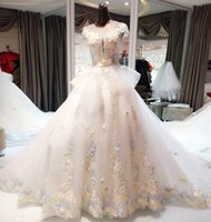 Jewel Neck Organza Tulle Ball Gown Wedding Dress With Flower...