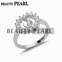5 Pieces Pearl Ring Settings Cubic Zirconia Adorned 925 Ster...