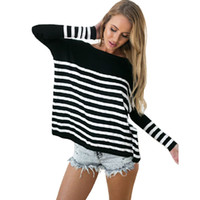 Nadafair Over Size Long Sleeve Striped T Shirt Casual Loose ...