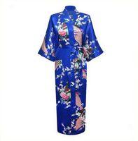 Großhandels-Blau plus Größe XXXL chinesisches Frauen-Satin-Robe-Kleid Japanischer Geisha Yukata Kimono-Bademantel-sexy Nachtwäsche-Blumen-Nachthemd A-029