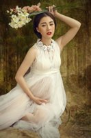 New White Lace Maternity Dress Photography Props Long Lace D...