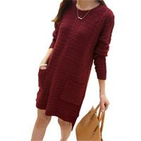 Al por mayor-2016 Nuevo otoño e invierno largo vestido de suéter de manga larga de las mujeres bolsillos O-cuello ocasionales de punto flojo vestidos Pullover Damen