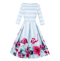 Chic Women' s 1950s 60s Vintage Striped Flamingo Print A...