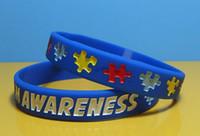 DHL Silikon Armband Rem för Män Present Autism Medvetenhet Designer Silicon Armband Pusselbrev Armbandsarmband för ungdom och vuxen