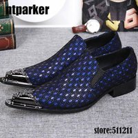 Western Fashion Pointed Metal Toe Dress Shoes Blue Grey Party Wedding Leather Shoes for Men, EU38-46!