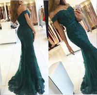 2020 Elegante Elegante Elegante Green Couture Prom Dresses Appliques Bloccato Crystal fuori dalla spalla Backless Mermaid Abiti da sera Vestido de Fiesta