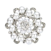 2 Zoll Simulierte Perle und Strass Kristall Diamante Floral Brosche Hochzeitsparty prom Pins Vintage Style