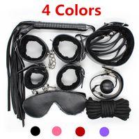 4 Farben erotische Positionierung Verband Kits SM Spielzeug Sexsklaven Rollenspiel Cosplay Spielzeug 10in1 mit Augenklappe Handschellen Schäkel Peitschen J10-25