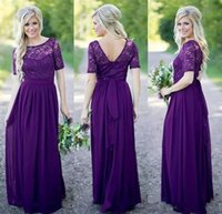 2017 Country Long Style Bridesmaid Dresses For Weddings Purp...