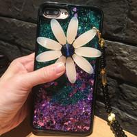 새로운 럭셔리 블링 데이지 실리콘 케이스 아이폰 X 퀵 샌드 및 반짝이 투명한 액체 TPU 커버 아이폰 7 8 플러스 huawei P9 라이트