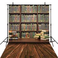 Estudante, graduação, estação, biblioteca, livros, fotografia, fundo, vindima, chão, estante de livros, estante, crianças, crianças, fundos fotográficos