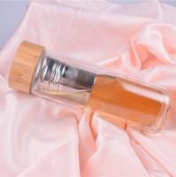 450 ملليلتر بامبو غطاء مزدوج الجدران الزجاج الشاي بهلوان مع مصفاة و سلة infuser زجاجات المياه الجديدة