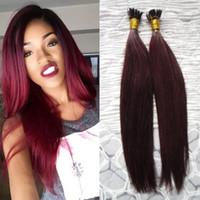 Brezilyalı Düz saç 99J Kırmızı Şarap 100g değil remy Sopa / Düz I-İpucu Saç Uzantıları kapsül keratin fusion saç uzantıları