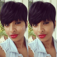 Pelucas cortas rectas sedosas del pelo humano de Glueless 7A para las mujeres negras Grada 6A Pelo brasileño Ningunas pelucas del cordón