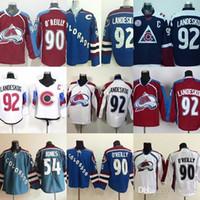아울렛 아울렛 남성 콜로라도 # 54 Jones # 90 O'Reilly # 92 Gabriel Landeskog 블루 화이트 와인 Cheap Ice Hockey Jerseys 무료 배송