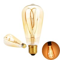 Rétro ST64 LED Ampoules Vintage Led Filament Papillon 4W Dimmable AC 110V 220V Lampes Suspendues Éclairage Jaune 2200K Or Verre Chaud