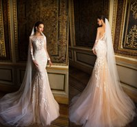 Vintage Elegant Champagne Tulle Mermaid Wedding Dresses 2017...