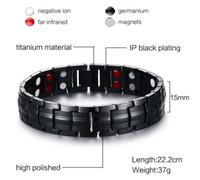 WK Black Men 's Titanium Bracelets Bracelets Magnétique Santé Puissance Sport Bijoux 22cm boîte libre