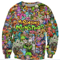 Neue Mode Frauen / Herren Cartoon My Singing Monster Charakter Collage Harajuku Stil Lustige 3D Print Casual Crewneck Sweatshirt Plus Größe