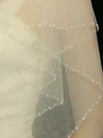 """2T nupcial do Marfim Fingertip Comprimento Edge frisada 30"""" x 36"""" Véu do casamento"""