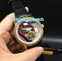 Высокого качество автоматического турбийон бренд часы из розового золота алмазов ободок стекли заднюю крышку роскошных часов мастера управления