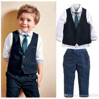 새 브랜드 아기 아이 잘 생긴 신사 정장 아기 소년 의류 세트 탑 셔츠 + 양복 조끼 + 넥타이 + 바지 4PCS 복장