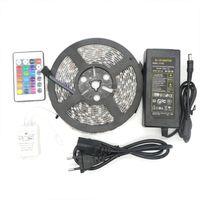 Led Strip RGB 5M SMD 5050 60LED / metro flexível impermeável IP65 24Key IR Remote plugue Led Controlador 5A Fonte de alimentação US EU UK AU para o Natal