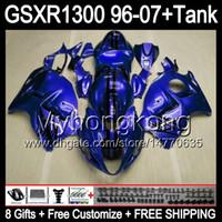 glänzend blau 8gift Für SUZUKI Hayabusa GSXR1300 96 97 98 99 00 01 13MY213 GSXR 1300 GSX-R1300 GSX R1300 02 03 04 05 06 07 Glanz blau Verkleidung