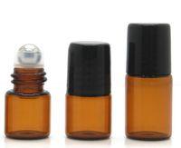 100 шт 1 мл Янтарь рулон на роликовые бутылки для эфирных масел ролл-на многоразового флакон духов дезодорант контейнеры с черной крышкой