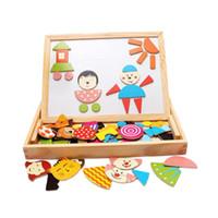 Tavolo da disegno e tavola da scrivere con puzzle magnetico come lavagna didattica multifunzionale didattica in legno per l'immaginazione dei bambini