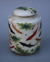 Rare Porceau de porcelaine chinois peinture à la main poissons jouant dans l'eau vieille pot - Thé Caddy