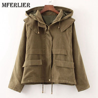 Girls Autumn Spring Trenchcoat Solid Hooded Zipper Manteau F...