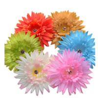 nouveau design! 30pcs / lot 4.5 '' grandes barrettes de cheveux de fleur de Gerbera marguerite avec pince à cheveux et broche de broche, mélanger 6colors