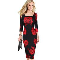 Новая мода женщин Элегантный Vintage Flower Цветочный печати площади шеи Повседневный вечера партии Специальным событием Pencil оболочки платье