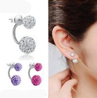 Nuovi orecchini a doppio lato, orecchini a bottone in cristallo da discoteca per donna, fondo in acciaio inossidabile, regali di Natale HJIA1146