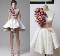 스웨이드 흰 동창 드레스 손으로 꽃을 만들어 보석 프로모션 드레스 백 지퍼 레이스와 함께 Applique 짧은 사용자 정의 공식 파티 드레스