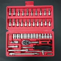 46pcs soquete chave chave de fenda bit catraca kit reparação conjunto de ferramentas