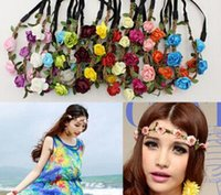 Moda noiva boêmio flor headband festival floral guirlanda de cabelo faixa de cabelo headwear acessórios para o cabelo para as mulheres 10 pçs / lote
