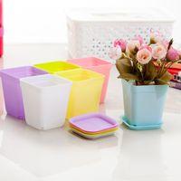 7 bonbons couleurs mignon en plastique fleur pot maison bureau bureau intérieur en pot maison jardin décor planteur racine contenant