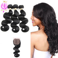 Human Hair With Closure Brazilian Body Wave Virgin Hair Bund...