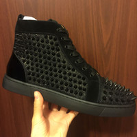 Size 35- 46 Men Women Black Sand Net With Spikes High Top Lac...