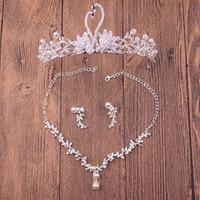 2017 envío gratis boda tiaras tocados pelo barato conjunto coronas collar pendientes aleación cristal lentejuelas de joyería nupcial accesorios