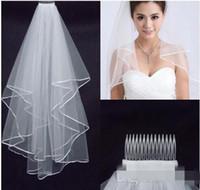 Barato boda velos boda nupcial 2017 blanco de dos capas de encaje que fluye accesorios de la boda venta al por mayor accesorios nupciales