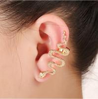 Punk Bayan Yılan Kulak Manşet Piercing Gümüş Altın Kaplama Damızlık Sarar Küpe Kulak Çiviler Gotik Takı